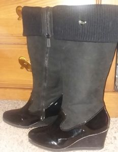 Michael Kors Pavia Black Tall Wedge Boots